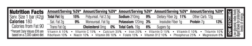 Peanut Butter Dark Chocolate Chunk Nutritional Facts