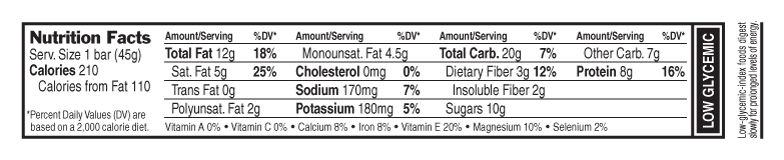 Dark Chocolate Almond Coconut Nutritional Facts